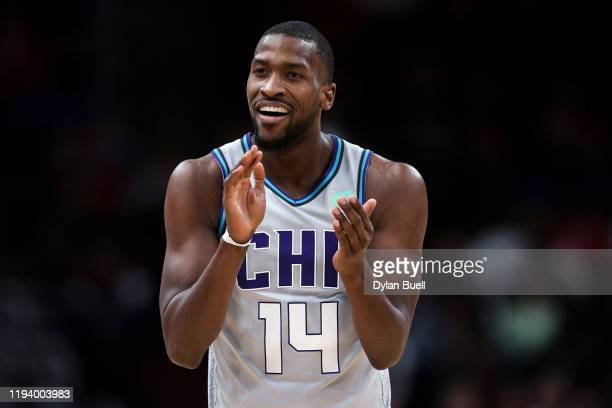 Michael KiddGilchrist of the Charlotte Hornets reacts in the second quarter against the Chicago Bulls at the United Center on December 13 2019 in...