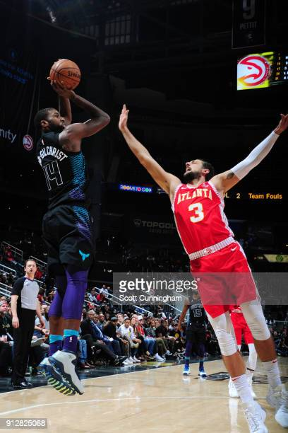 Michael KiddGilchrist of the Charlotte Hornets shoots the ball during the game against the Atlanta Hawks on January 31 2018 at Philips Arena in...
