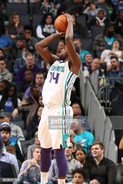 Michael KiddGilchrist of the Charlotte Hornets shoots the ball against the Dallas Mavericks on January 10 2018 at Spectrum Center in Charlotte North...