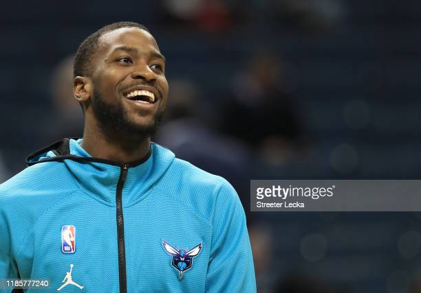 Michael KiddGilchrist of the Charlotte Hornets watches on before their game against the Indiana Pacers at Spectrum Center on November 05 2019 in...