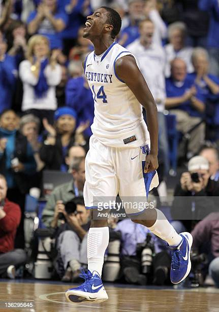 Michael Kidd-Gilchrist of the Kentucky Wildcats celebrates during 69-62 win over the Louisville Cardinals at Rupp Arena on December 31, 2011 in...