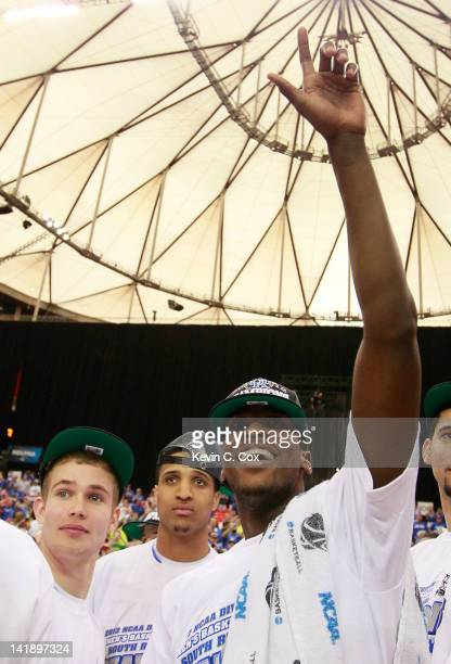 Michael Kidd-Gilchrist of the Kentucky Wildcats celebrates their 82 to 70 win over the Baylor Bears during the 2012 NCAA Men's Basketball South...