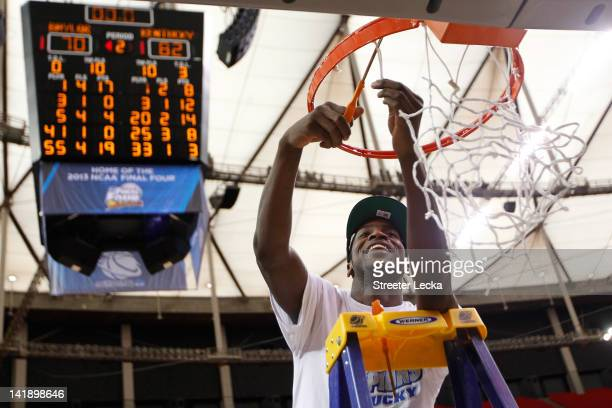 Michael Kidd-Gilchrist of the Kentucky Wildcats cuts down the net after they defeated the Baylor Bears 82 to 70 during the 2012 NCAA Men's Basketball...