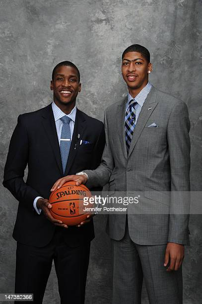 Michael KiddGilchrist selected second overall by the Charlotte Bobcats and Anthony Davis selected number one overall by the New Orleans Hornets poses...