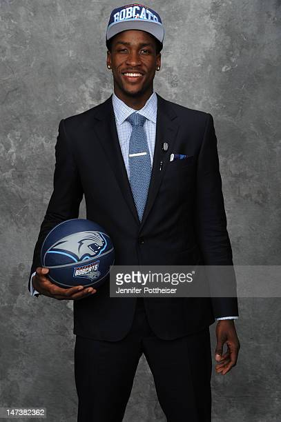 Michael KiddGilchrist selected second overall by the Charlotte Bobcats poses for a portrait during the 2012 NBA Draft at The Prudential Center on...