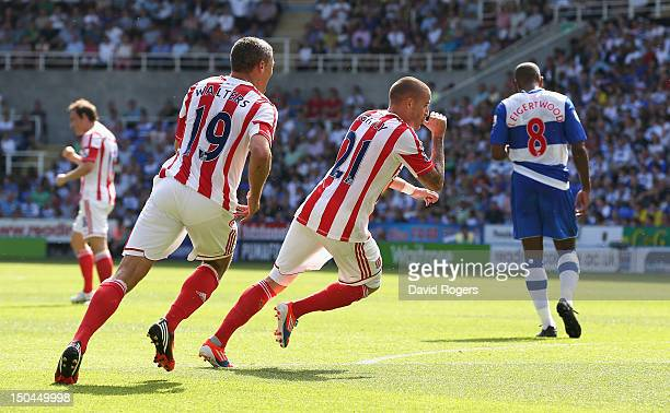 Michael Kightly of Stoke City celebrates scoring the opening goal during the Barclays Premier League match between Reading and Stoke City at Madejski...