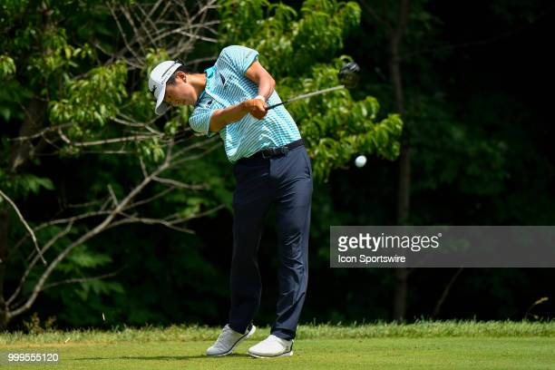 Michael Kim hits a tee shot on the second hole during the final round of the John Deere Classic on July 15 2018 at the TPC Deere Run in Silvis...
