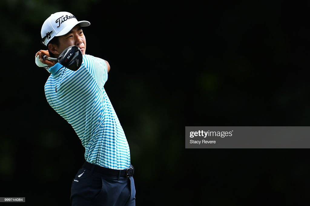 Michael Kim hits his tee shot on the 13th hole during the final round of the John Deere Classic at TPC Deere Run on July 15, 2018 in Silvis, Illinois.