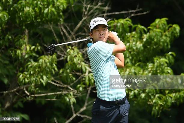 Bronson Burgoon hits a shot on the first hole during the final round of the John Deere Classic at TPC Deere Run on July 15 2018 in Silvis Illinois