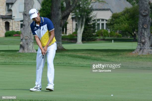 Michael Kim makes a birdie putt on the 10th hole during the Military Tribute at The Greenbrier Classic on July 05 2018 in White Sulphur Springs WV