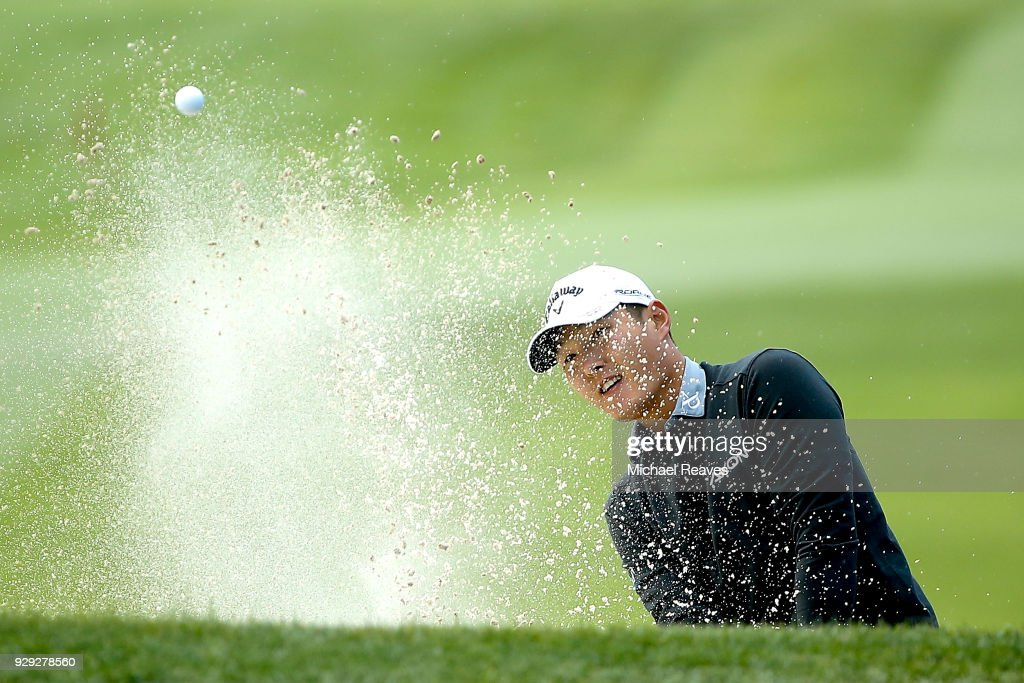 Michael Kim plays a shot from a bunker on the second hole during the first round of the Valspar Championship at Innisbrook Resort Copperhead Course on March 8, 2018 in Palm Harbor, Florida.