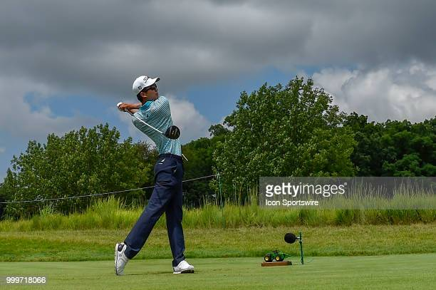 Michael Kim plays a tee shot on the ninth hole during the final round of the John Deere Classic on July 15 2018 at the TPC Deere Run in Silvis...