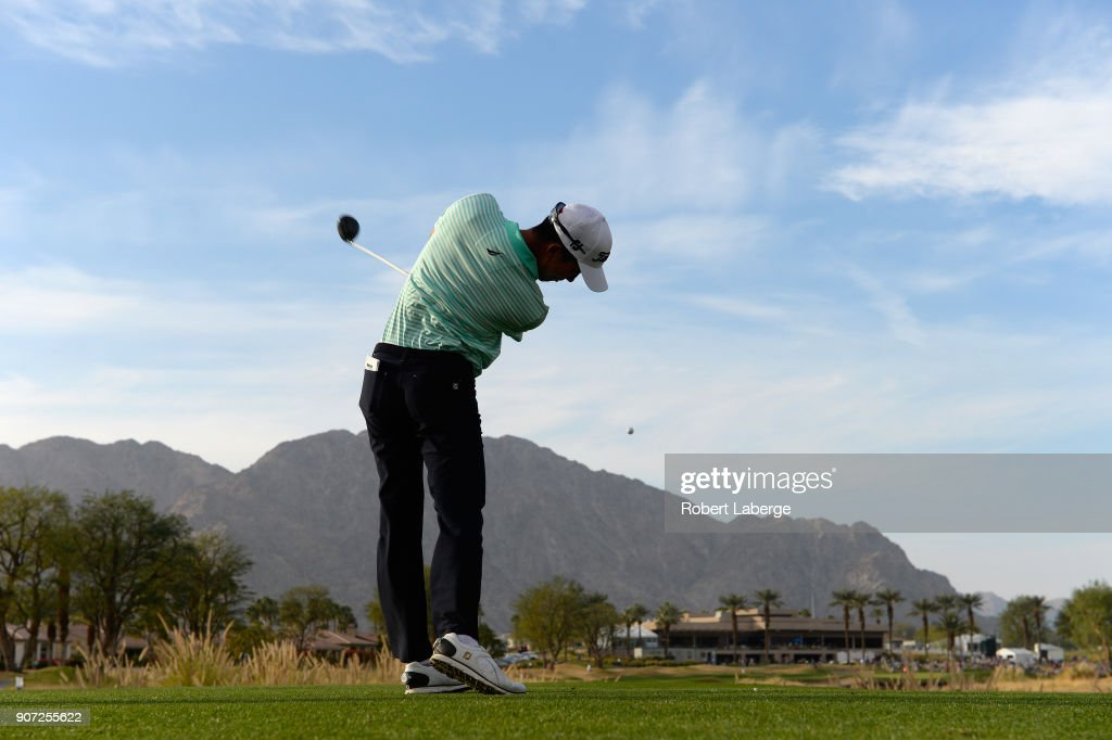 Michael Kim plays his shot from the 18th tee during the second round of the CareerBuilder Challenge at the Jack Nicklaus Tournament Course at PGA West on January 19, 2018 in La Quinta, California.