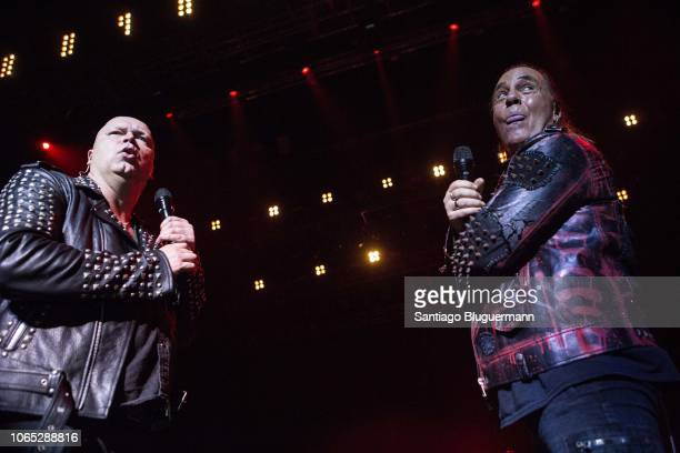 Michael Kiske and Andi Deris performs during a concert as part of Pumpkins United World Tour at Luna Park on November 8 2018 in Buenos Aires Argentina