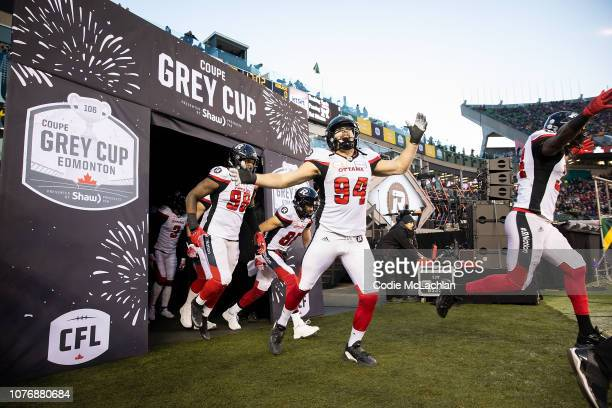 Michael Klassen of the Ottawa Redblacks comes out of the tunnel before the game against the Calgary Stampeders during the Grey Cup at Commonwealth...