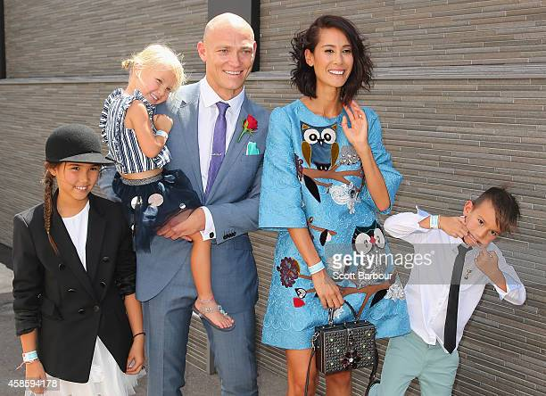 Michael Klim and Lindy Klim along with their children Stella Frankie and Rocco arrive at the Emirates Marquee on Stakes Day at Flemington Racecourse...