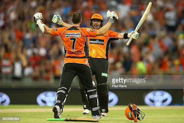 Michael Klinger and Ian Bell of the Scorchers celebrate winning the Big Bash League match between the Perth Scorchers and the Sydney Sixers at WACA...