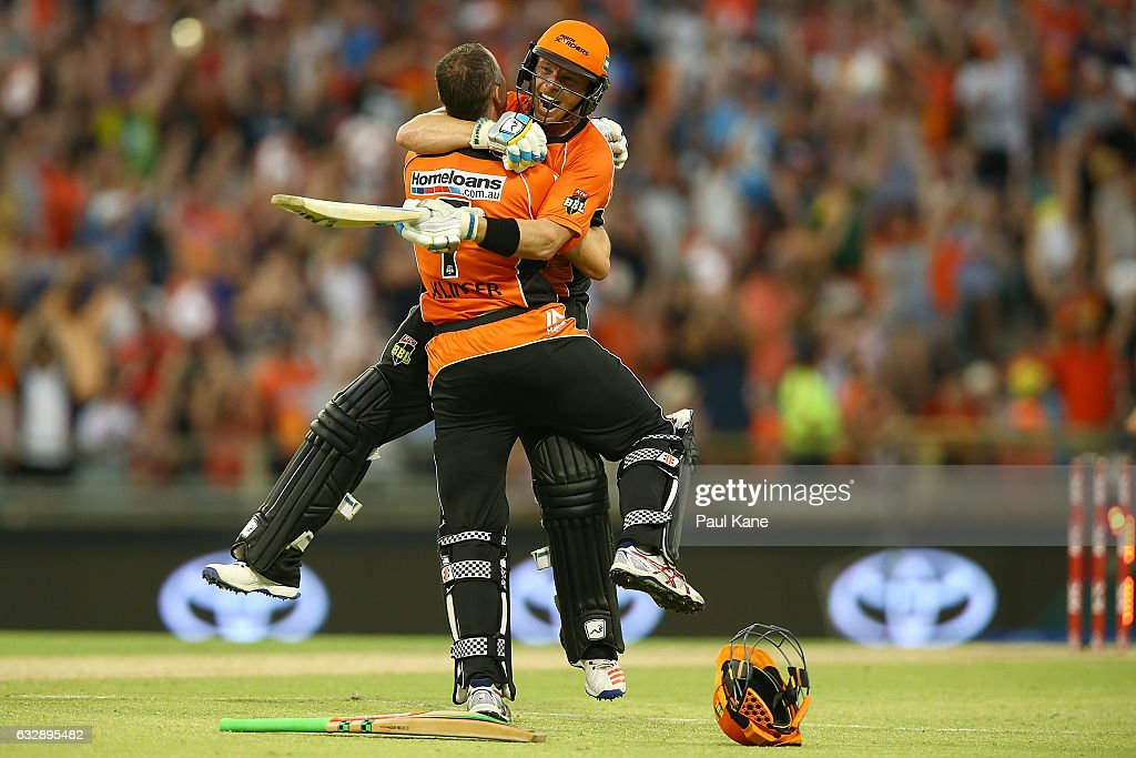 Michael Klinger and Ian Bell of the Scorchers celebrate winning the Big Bash League match between the Perth Scorchers and the Sydney Sixers at WACA on January 28, 2017 in Perth, Australia.