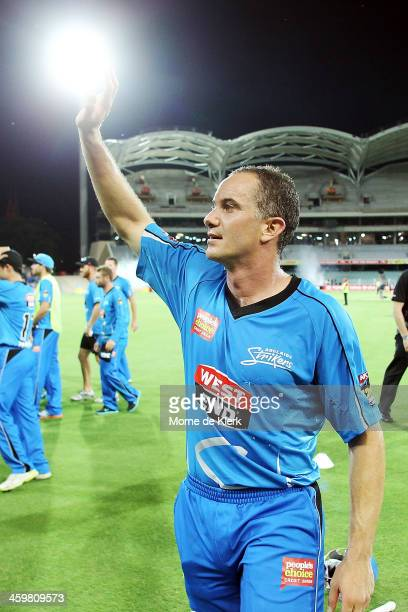 Michael Klinger of Adelaide celebrates after the Big Bash League match between the Adelaide Strikers and the Perth Scorchers at Adelaide Oval on...