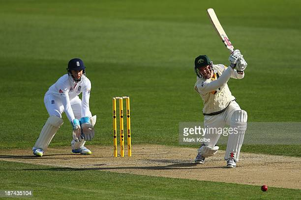 Michael Klinger of Australia A bats during day four of the tour match between Australia A and England at Blundstone Arena on November 9 2013 in...