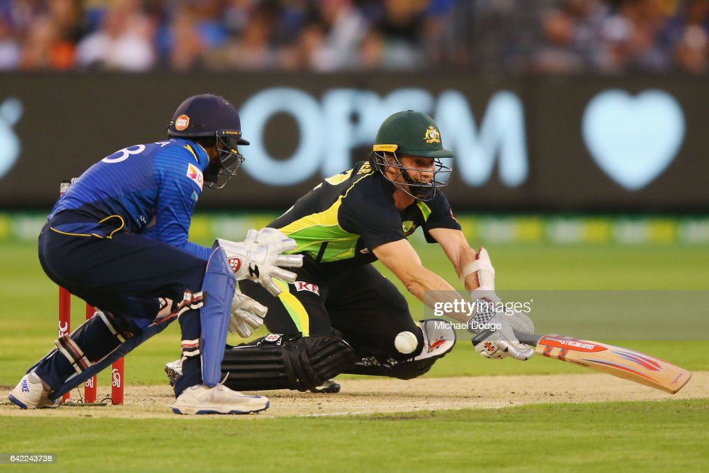 Michael Klinger of Australia slips over when playing a stroke during the first International Twenty20 match between Australia and Sri Lanka at Melbourne Cricket Ground on February 17, 2017 in Melbourne, Australia.