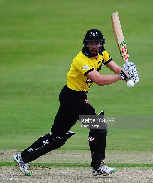 Michael Klinger of Gloucestershire bats during the Natwest T20 Blast match between Gloucestershire and Essex at The College Ground on July 17 2016 in...