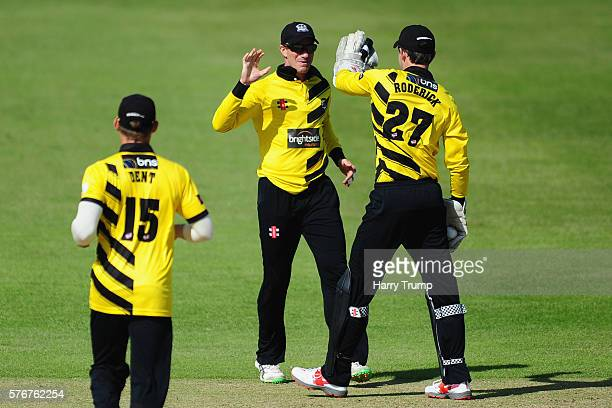 Michael Klinger of Gloucestershire celebrates the wicket of Ryan Ten Doeschate of Essex during the Natwest T20 Blast match between Gloucestershire...