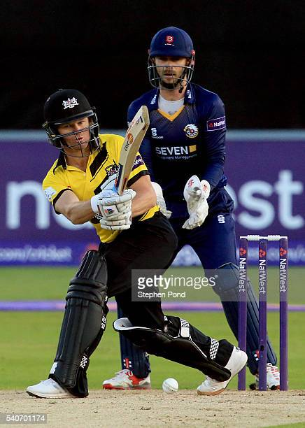 Michael Klinger of Gloucestershire hits out during the NatWest T20 Blast match between Essex and Gloucestershire at the Ford County Ground on June 16...