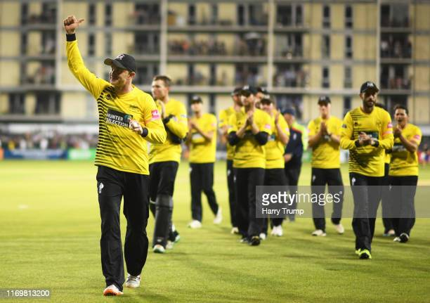 Michael Klinger of Gloucestershire leads his side off after victory over Somerset during the Vitality Blast match between Gloucestershire and...