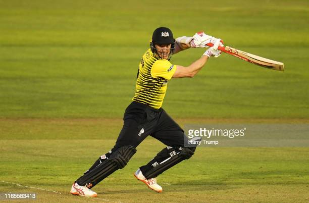 Michael Klinger of Gloucestershire plays a shot during the Vitality Blast match between Glamorgan and Gloucestershire at Sophia Gardens on August 01...
