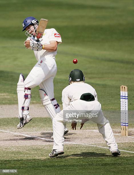 Michael Klinger of the Bushrangers pulls the ball to square during day three of the Pura Cup match between the Victorian Bushrangers and the...