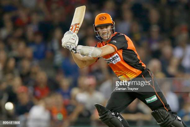 Michael Klinger of the Perth Scorchers bats during the Big Bash League match between the Melbourne Renegades and the Perth Scorchers at Etihad...
