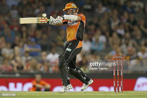 Michael Klinger of the Perth Scorchers hita a boudary during the Big Bash League match between the Melbourne Renegades and Perth Scorchers at Etihad...