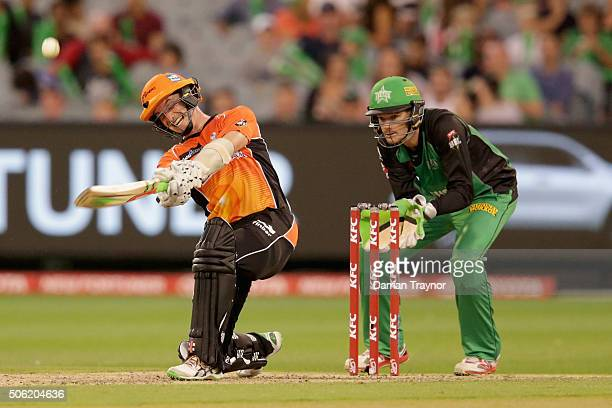 Michael Klinger of the Perth Scorchers hits a ball high into the air and his caught on the boundary line by Marcus Stoinis of the Melbourne Stars...