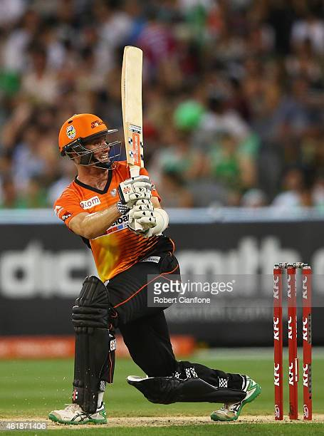 Michael Klinger of the Scorchers bats during the Big Bash League match between the Melbourne Stars and Perth Scorchers at Melbourne Cricket Ground on...