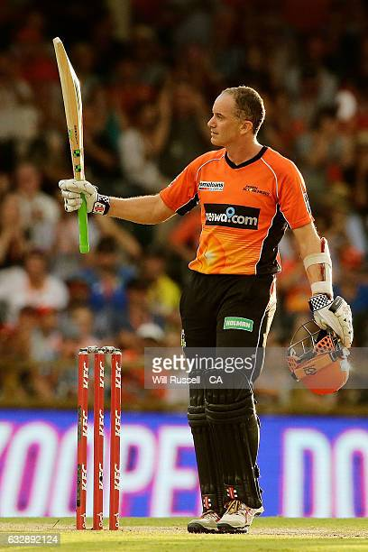 Michael Klinger of the Scorchers celebrates after reaching his half century during the Big Bash League match between the Perth Scorchers and the...
