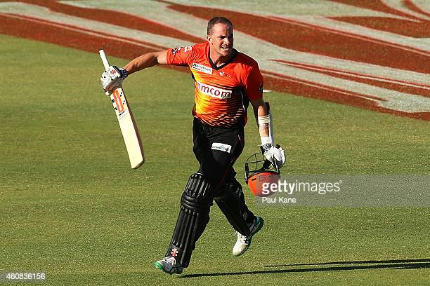 Michael Klinger of the Scorchers celebrates after scoring his century during the Big Bash League match between the Perth Scorchers and the Melbourne...