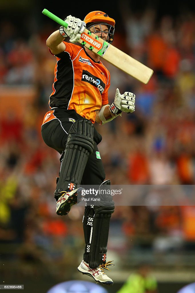 Michael Klinger of the Scorchers celebrates winning the Big Bash League match between the Perth Scorchers and the Sydney Sixers at WACA on January 28, 2017 in Perth, Australia.
