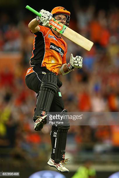 Michael Klinger of the Scorchers celebrates winning the Big Bash League match between the Perth Scorchers and the Sydney Sixers at WACA on January 28...