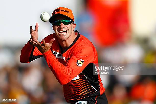 Michael Klinger of the Scorchers fields during the Twenty20 match between the Perth Scorchers and Australian Legends at Aquinas College on December...