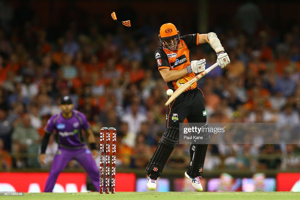 Michael Klinger of the Scorchers plays a rising delivery by Jofra Archer of the Hurricanes during the Big Bash League match between the Perth Scorchers and the Hobart Hurricanes at WACA on January 20, 2018 in Perth, Australia.