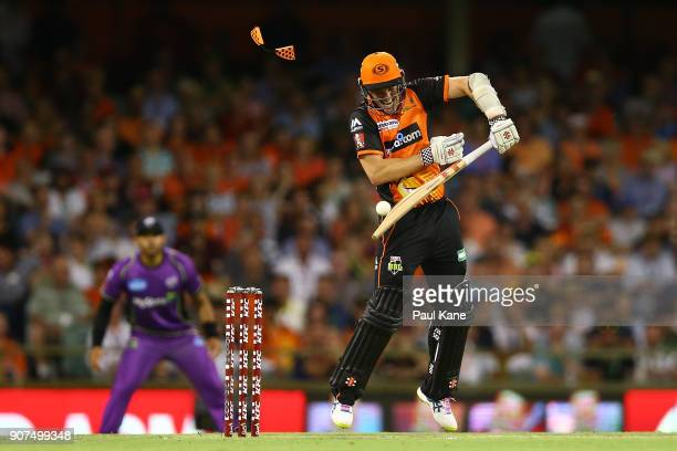 Michael Klinger of the Scorchers plays a rising delivery by Jofra Archer of the Hurricanes during the Big Bash League match between the Perth...