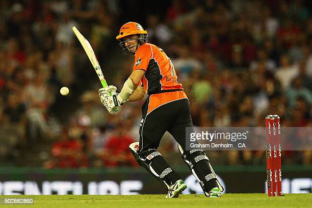 Michael Klinger of the Scorchers plays a shot during the Big Bash League match between the Melbourne Renegades and the Perth Scorchers at Etihad...
