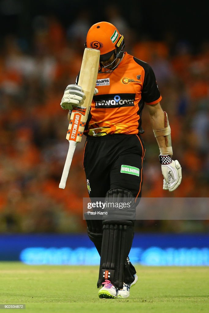 Michael Klinger of the Scorchers walks from the field after being dismissed during the Big Bash League match between the Perth Scorchers and the Melbourne Renegades at WACA on January 8, 2018 in Perth, Australia.