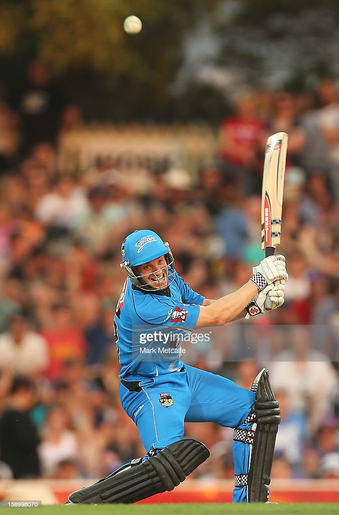 Michael Klinger of the Strikers bats during the Big Bash League match between the Hobart Hurricanes and the Adelaide Strikers at Blundstone Arena on January 5, 2013 in Hobart, Australia.