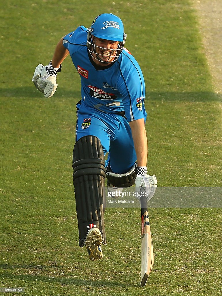Michael Klinger of the Strikers runs between wickets during the Big Bash League match between the Hobart Hurricanes and the Adelaide Strikers at Blundstone Arena on January 5, 2013 in Hobart, Australia.
