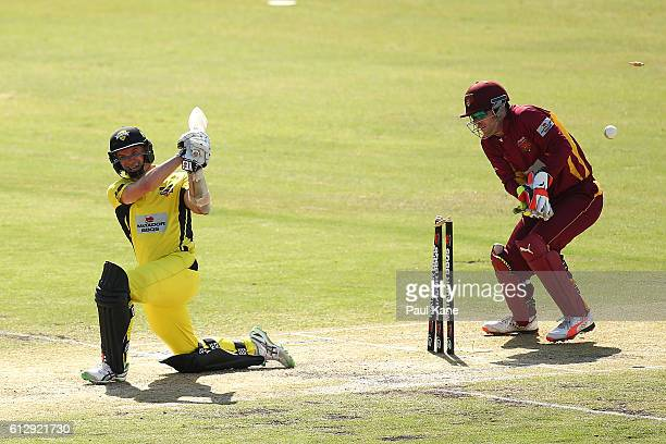 Michael Klinger of the Warriors is bowled by Mitchell Swepson of the Bulls during the Matador BBQs One Day Cup match between Western Australia and...
