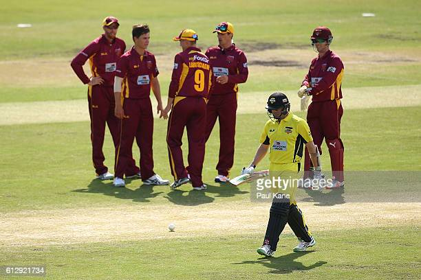 Michael Klinger of the Warriors walks back to the pavillion after being bowled by Mitchell Swepson of the Bulls during the Matador BBQs One Day Cup...