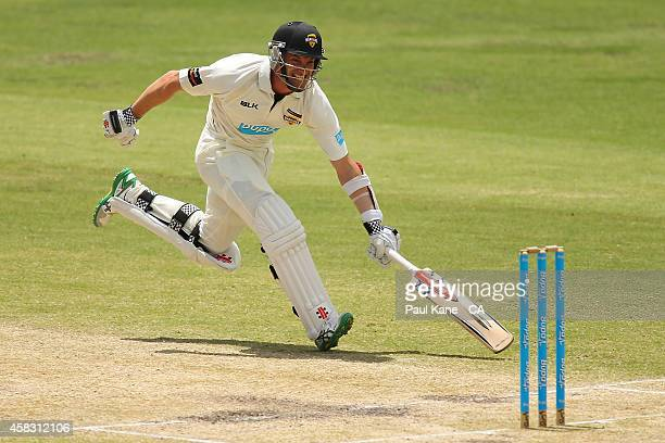 Michael Klinger of Western Australia stretches to make the crease during day four of the Sheffield Shield match between Western Australia and...