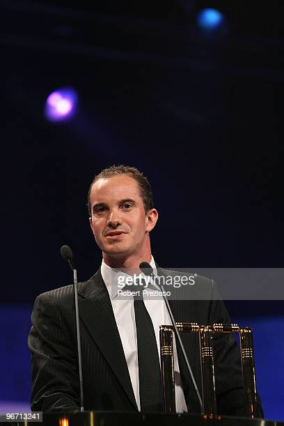 Michael Klinger speaks after winning the State Player of the year award during the 2010 Allan Border Medal at Crown Casino on February 15 2010 in...
